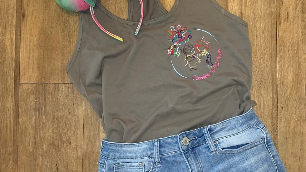 Adventure is out there embroidered t-shirt or tan