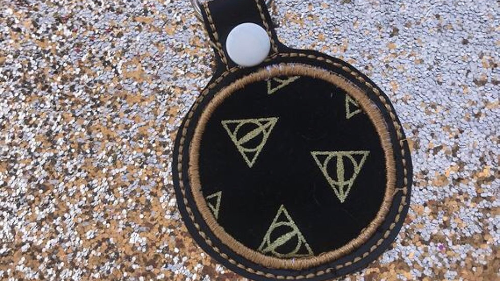 Deathly hallows applique embroidered keychain