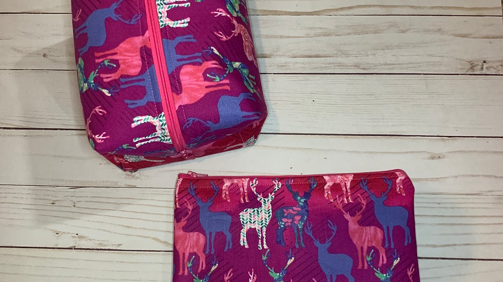Colorful Deer boxy bag or makeup bag