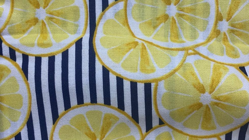 Lemons on Navy stripes boxy bag or makeup bag