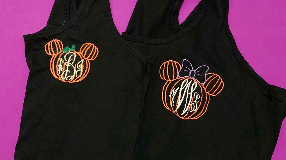 Minnie or Mickey pumpkin monogram t-shirt or tank top