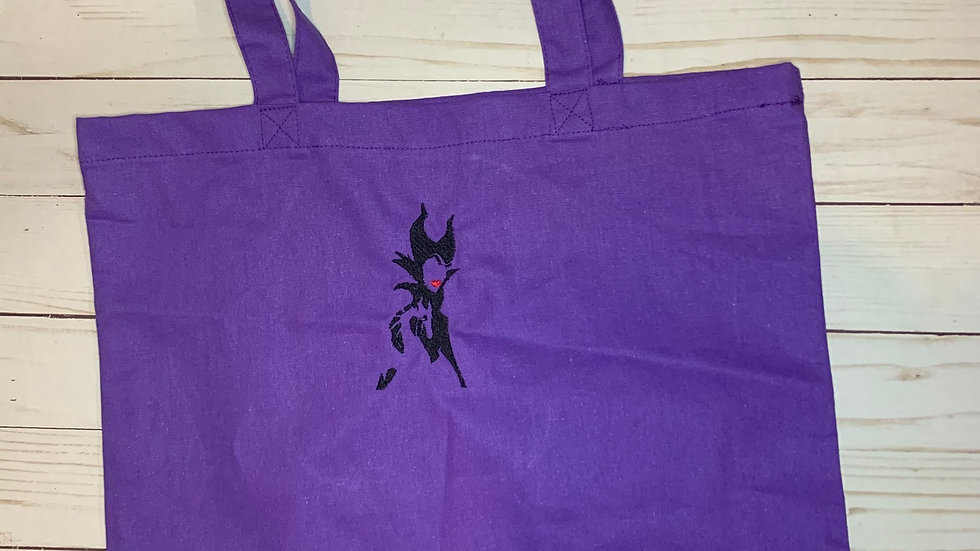 Maleficent silhouette embroidered market tote