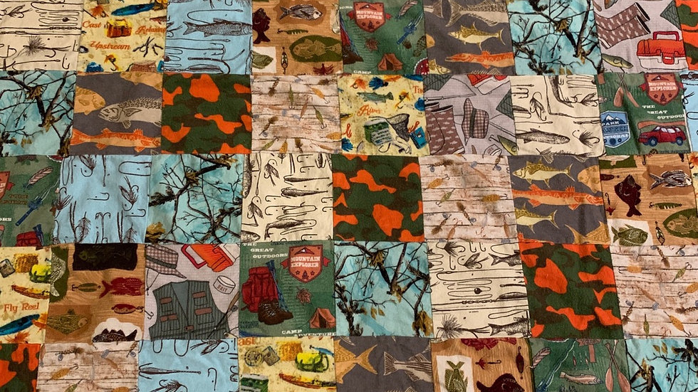 Hunting and Fishing Patchwork Blanket