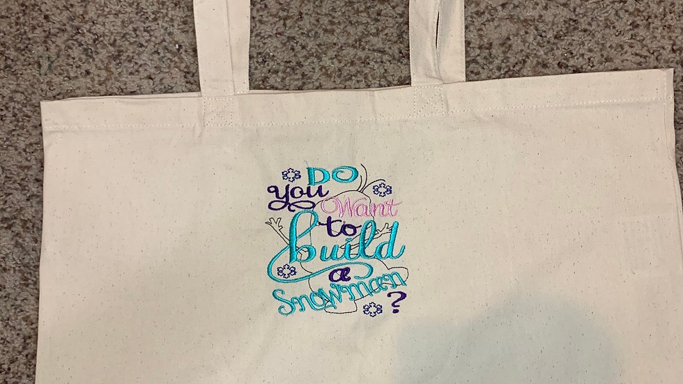 Do you Wanna Build a Snowman Large Canvas tote