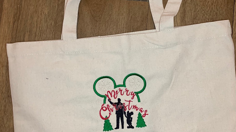 Merry Christmas Mouse Large Canvas tote