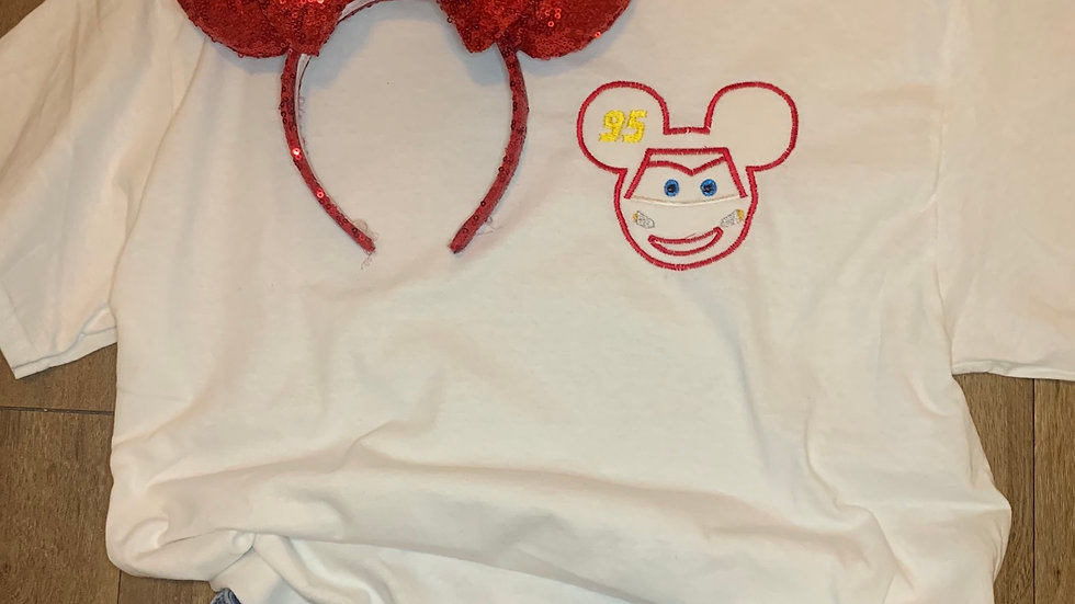 Lightening McQueen Mouse embroidered t-shirt or tank