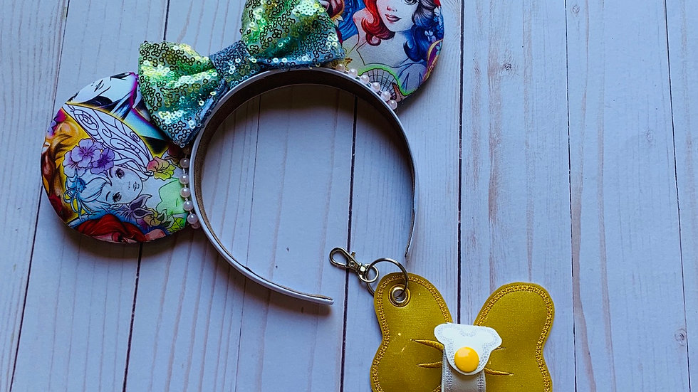 Gold Yellow minnie bow ear/hat holder keychain