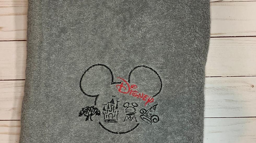 WDW 4 Parks embroidered towels, blanket, makeup bag