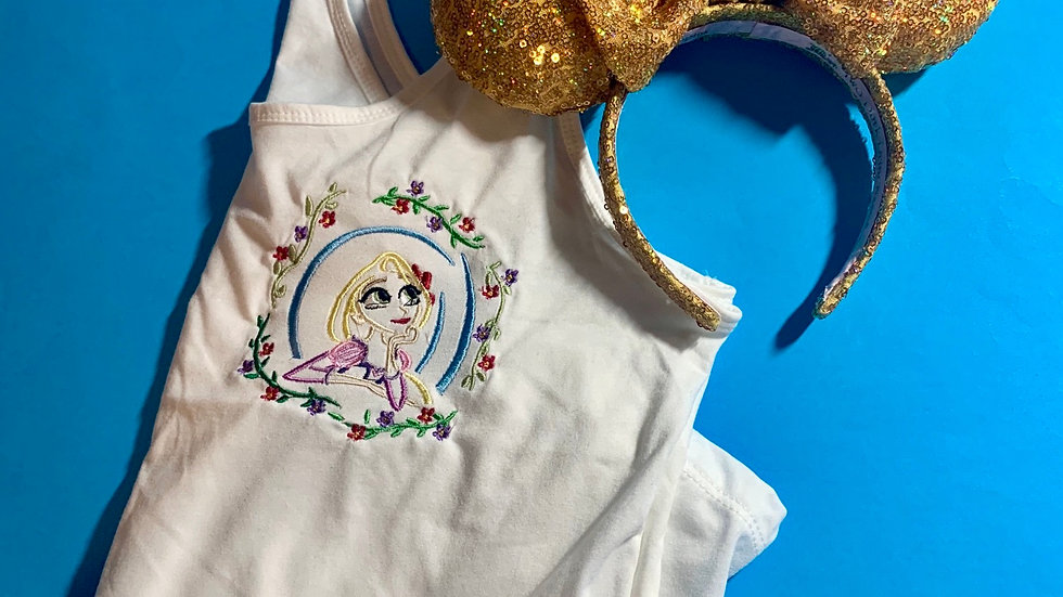 Floral Rapunzel embroidered t-shirt or tank top