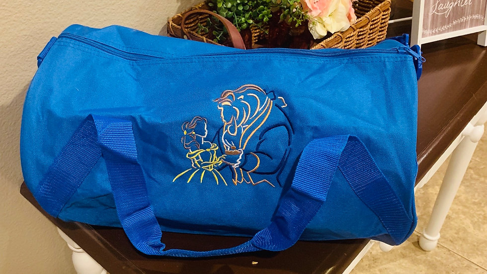 Beauty and the beast embroidered duffel bag