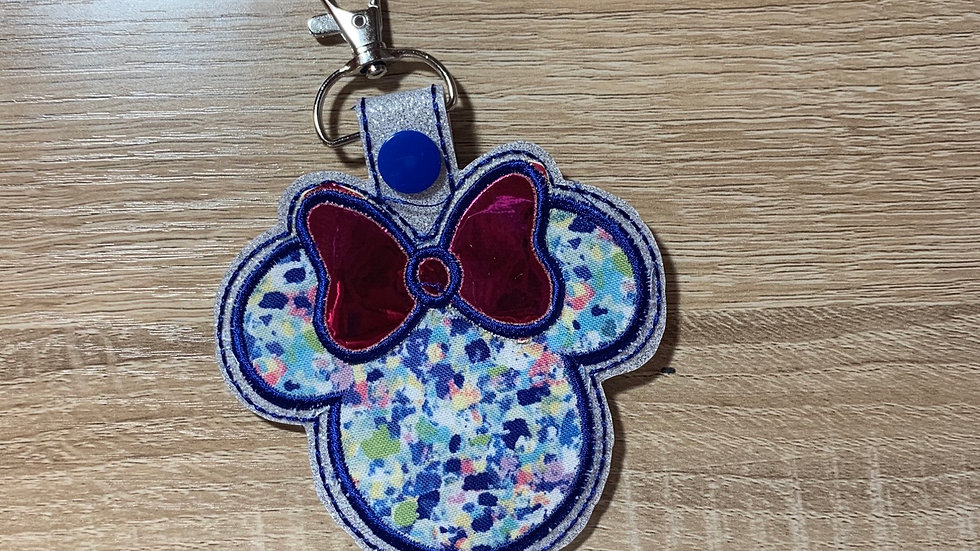 Lily Pulitzer Inspired Minnie Mouse large keychain / Bag Charm