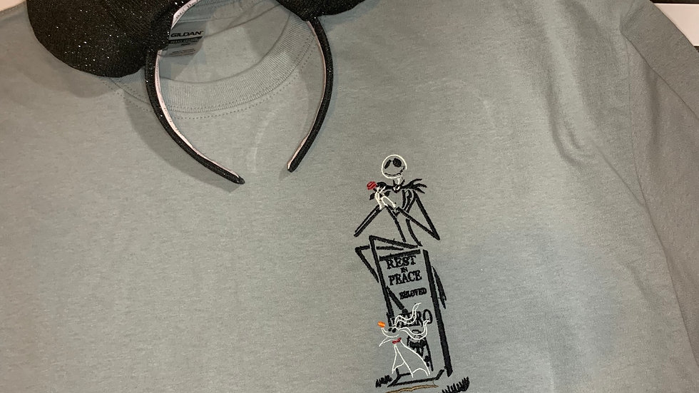 Jack and zero on tombstone embroidered T-Shirt or tank top