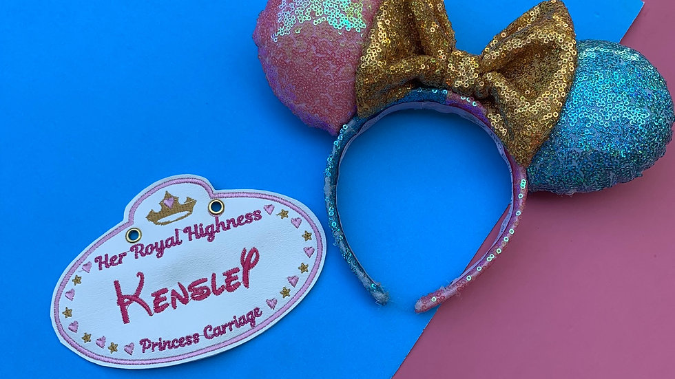 Her royal highness embroidered stroller tag