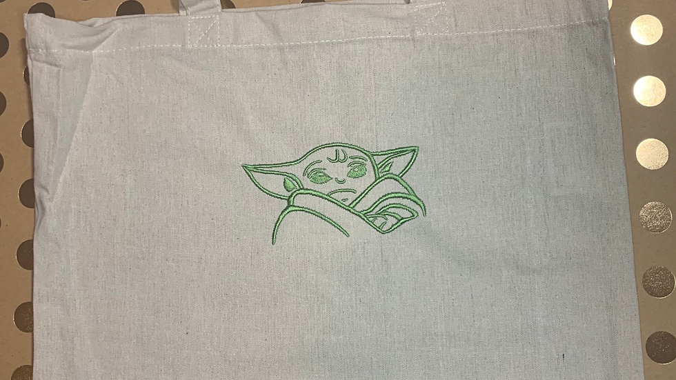 Baby Yoda embroidered market tote