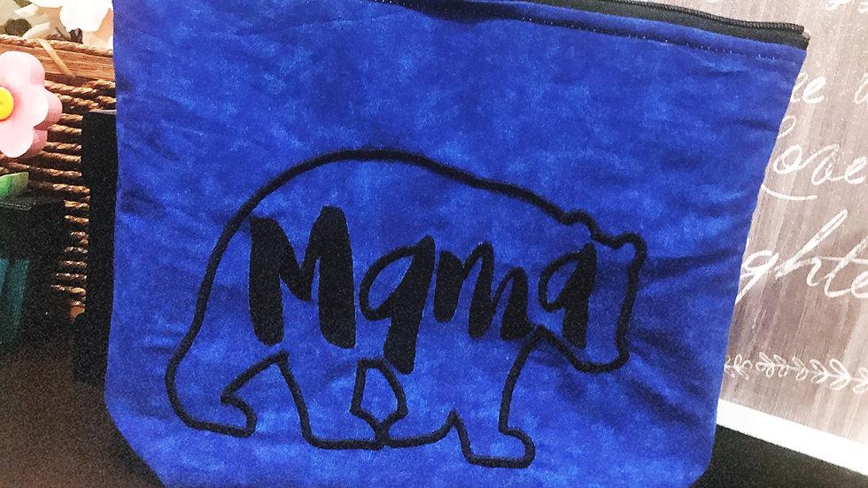 Mama Bear embroidered makeup bag, tote bag, blanket or towel