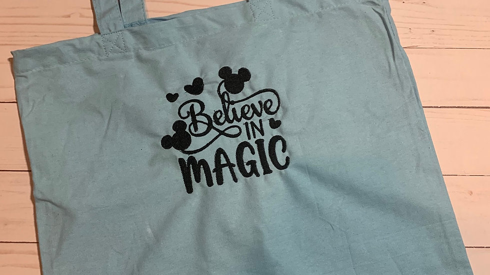 Believe in magic embroidered market tote
