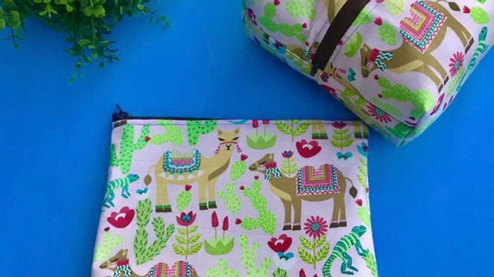 Camel amd succulent boxy bag or makeup bag