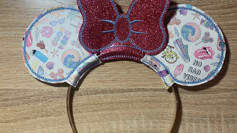 Good Vibes Ears with Pink Glitter bow  - headband not included
