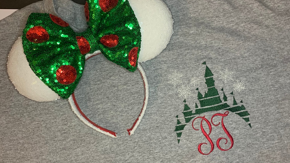 Christmas Castle Monogram embroidered t-shirt or tan