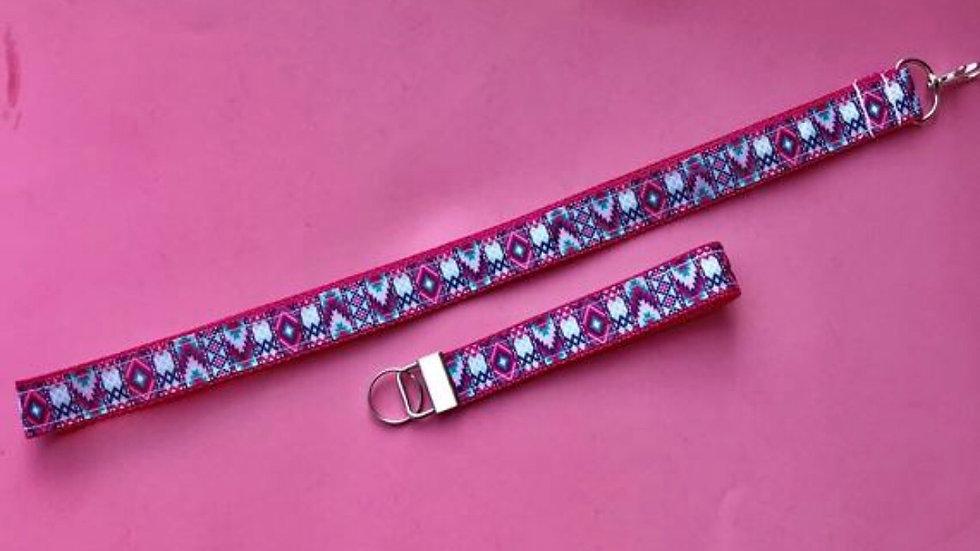 Pink aztec lanyard or wristlet