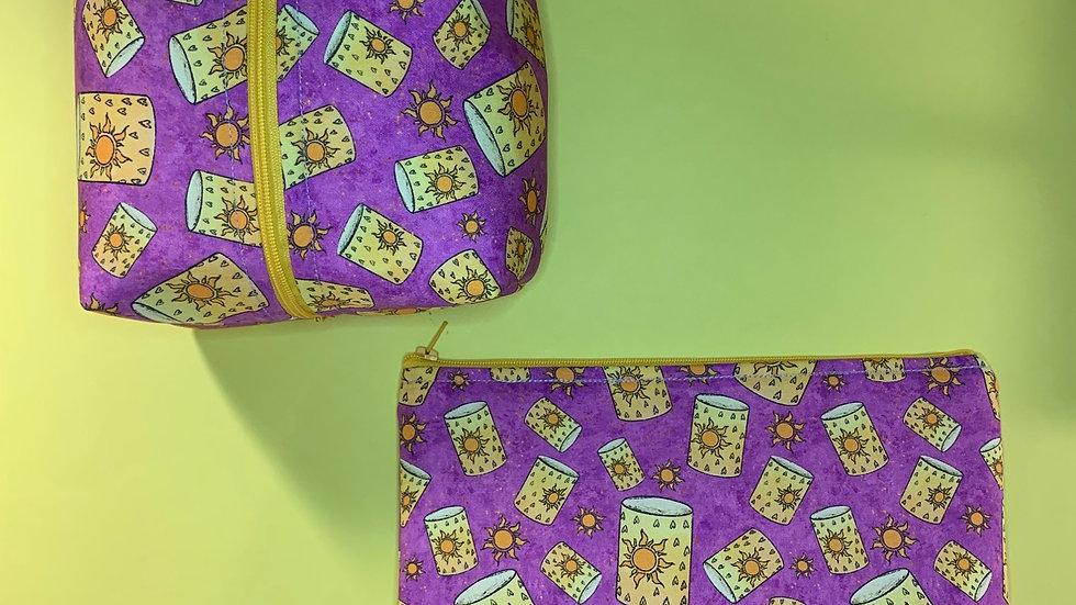 Rapunzel's floating lanterns boxy bag or makeup bag