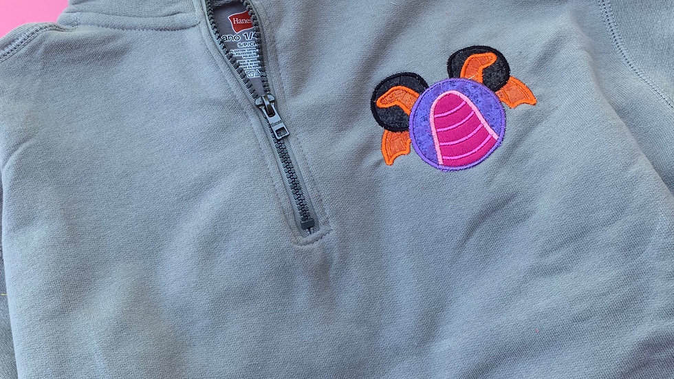Figment mouse embroidered quarter zip, hoodie or pullover
