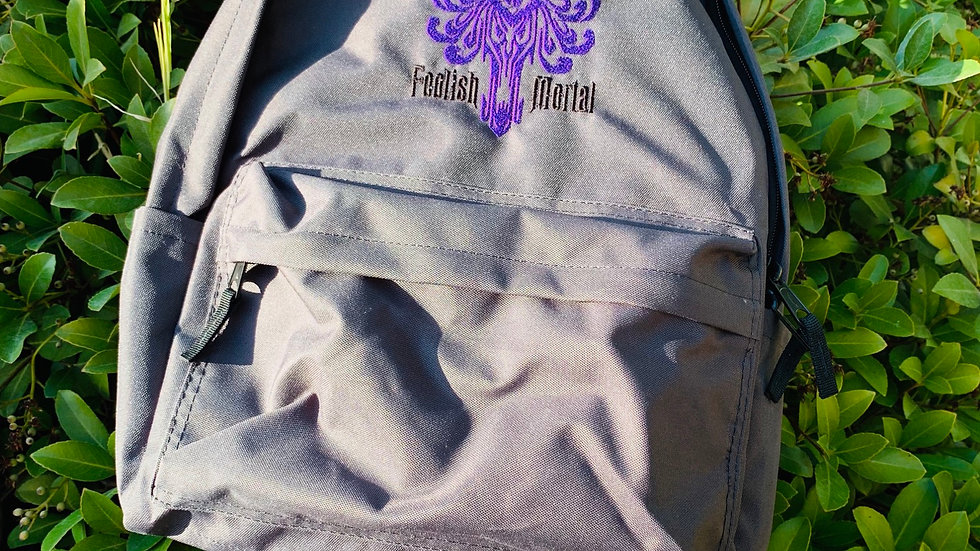 Foolish Mortals haunted mansion embroidered backpack