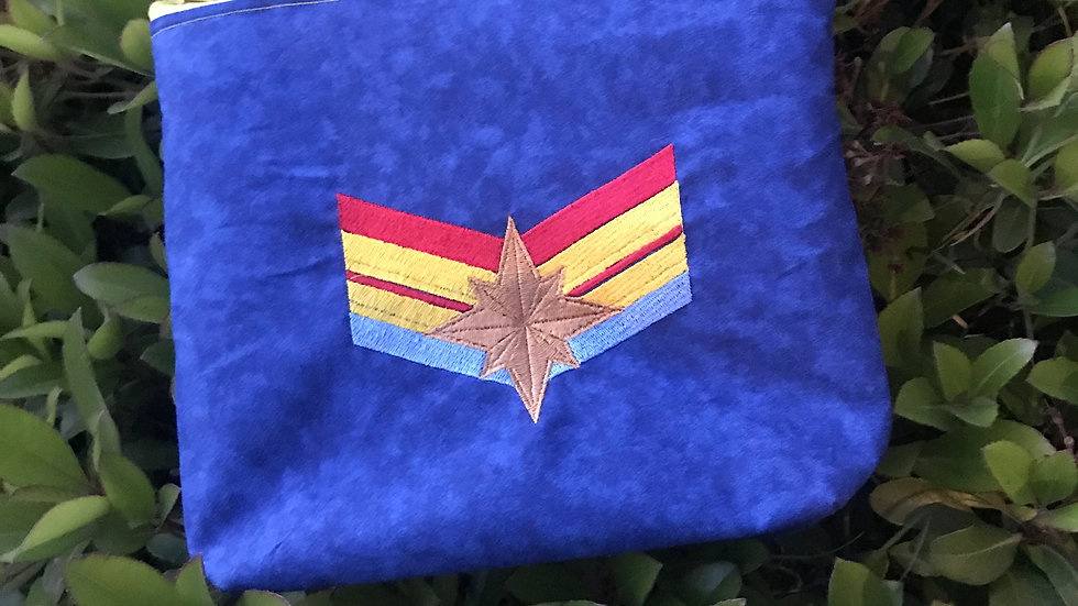 Captain Marvel embroidered tote bag, makeup bag, towel or blanket - Name embroid