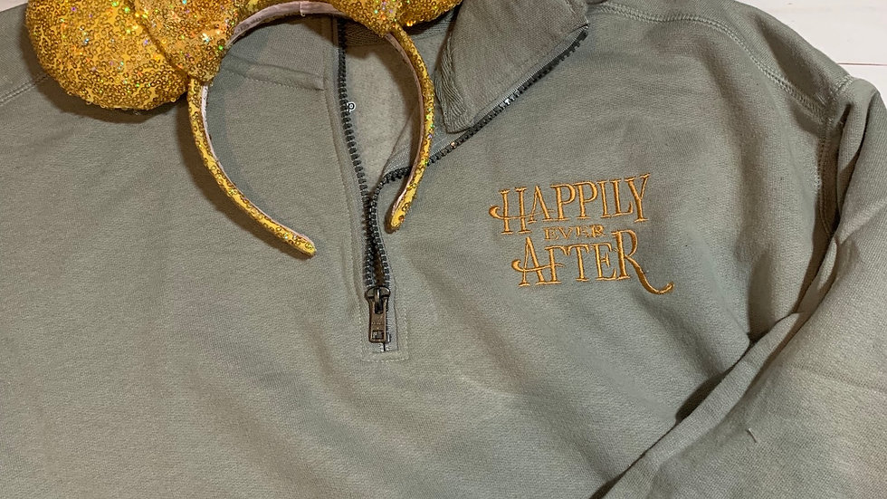 Happily ever after embroidered hoodie, pullover, 1/4 zip