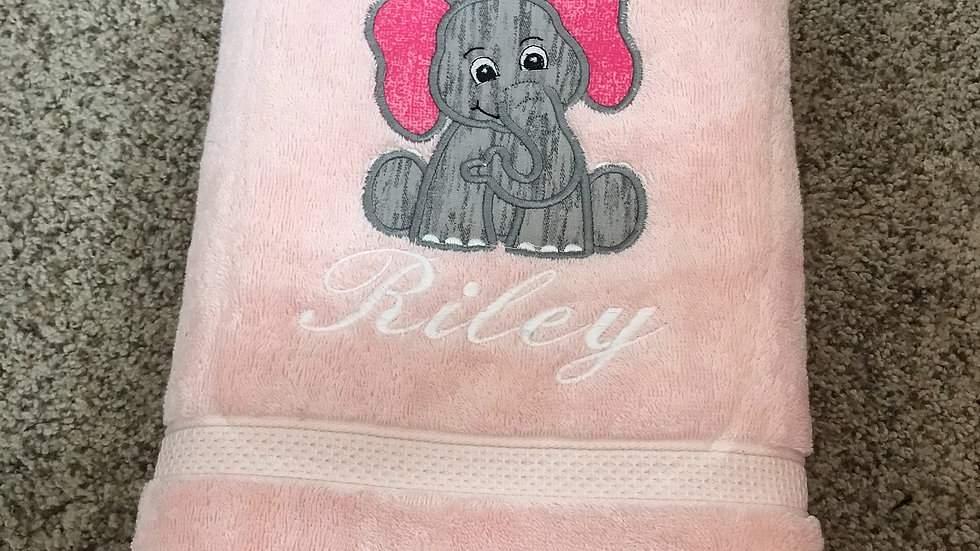 Cute elephant embroidered towel, blanket, makeup bag, tote bag - Name embroidery