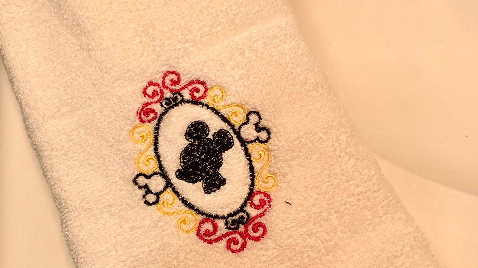 Mickey Mouse frame embroidered towels, blanket, makeup bag or tote