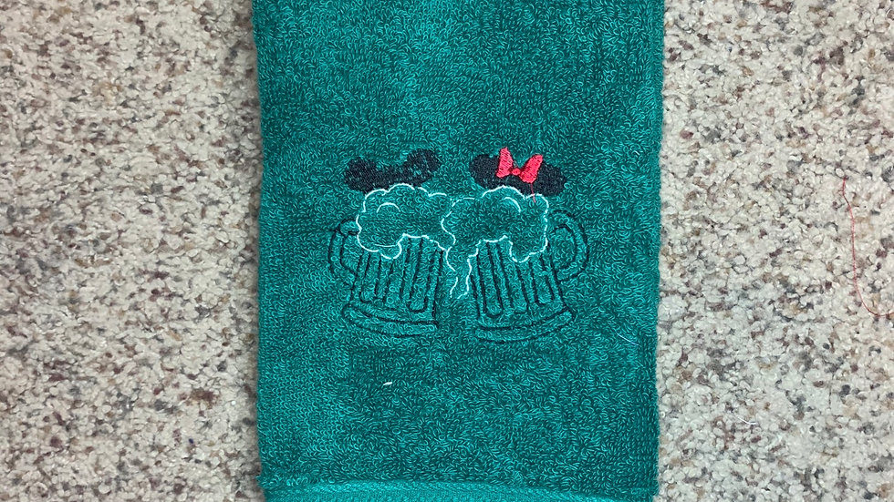 Minnie and Mickey Stein glasses embroidered towels, blanket, makeup bag