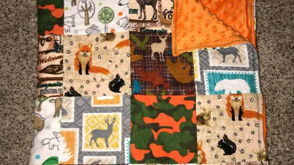 Orange and camo wildlife patchwork minky blanket