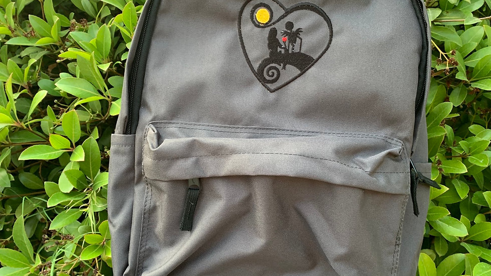 Jack and sally heart embroidered backpack