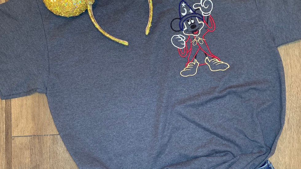 Fantasmic Finale Sorcerer Mickey  embroidered t-shirt or tan