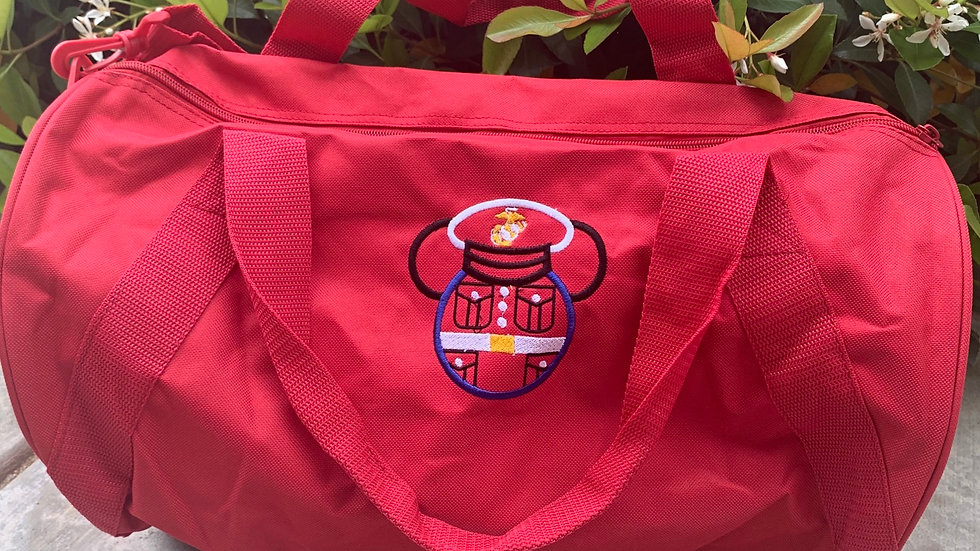 Marine Mouse embroidered duffel bag