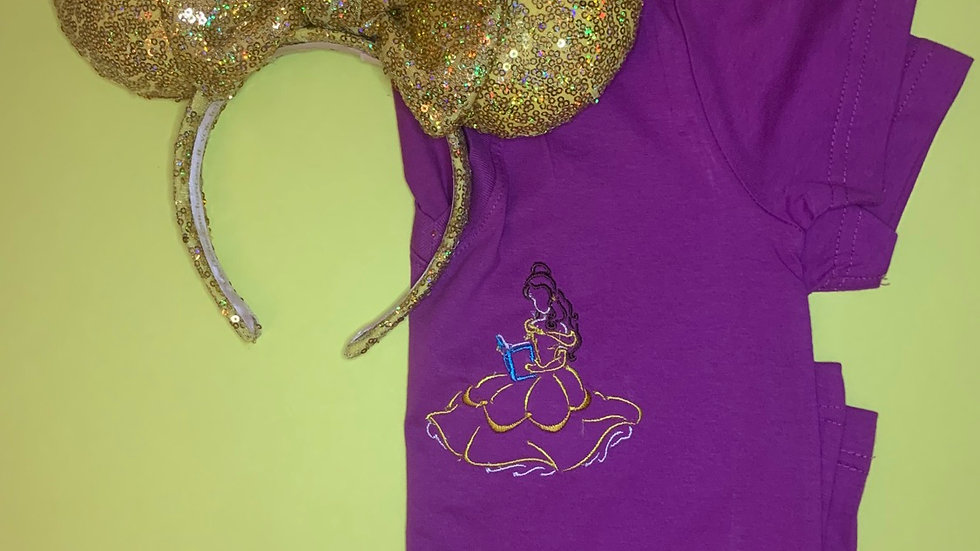 Belle's Books embroidered t-shirt or tan