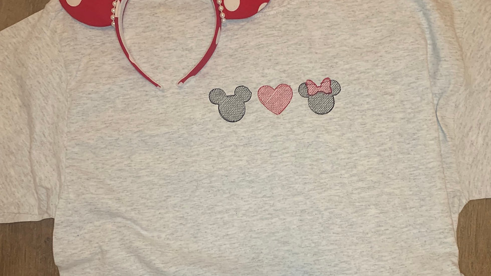 Mickey and Minnie Love embroidered t-shirt or tank