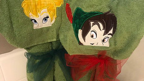 Peter Pan or tinker bell hooded towel - Name embroidery available