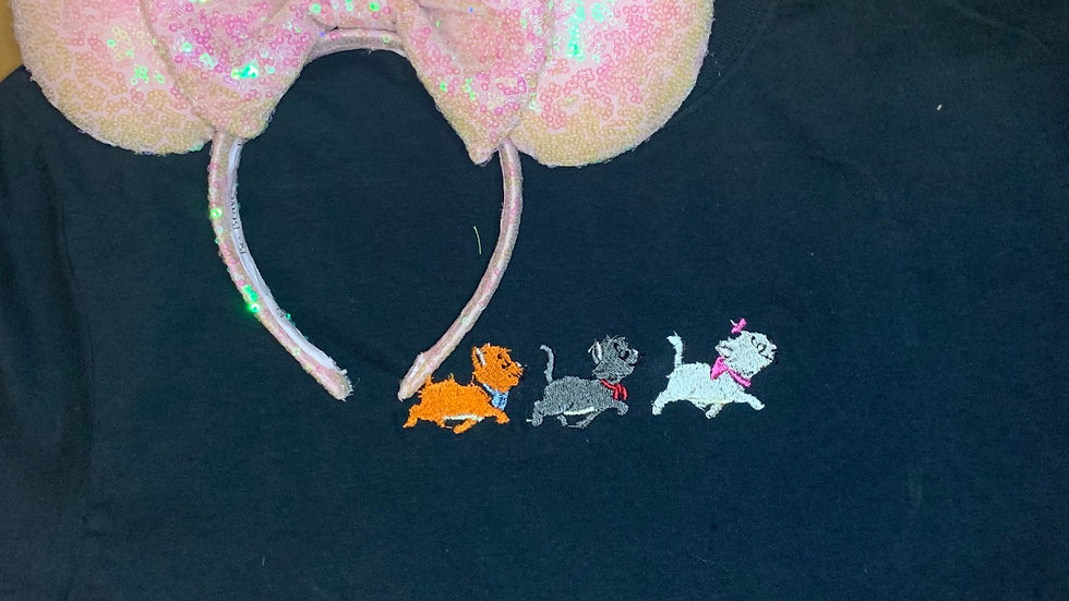 Aristocats embroidered t-shirt or tank top