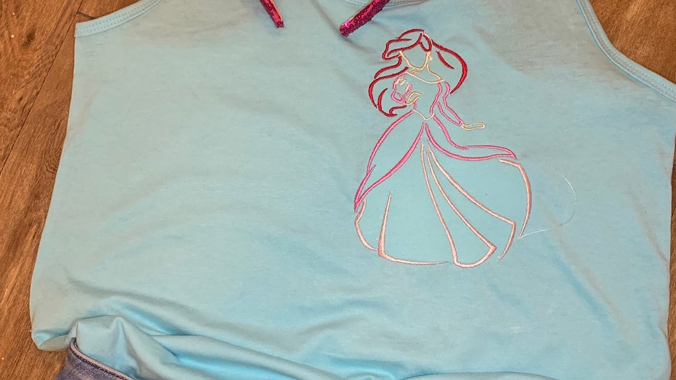 Ariel in Pink Dress embroidered t-shirt or tank