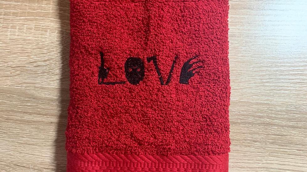Horror Love embroidered towels, blanket, makeup bag