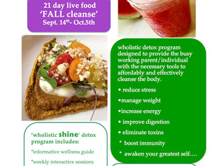 FALL CLEANSE..21 DAY LIVE FOOD DETOX......REGISTER NOW!