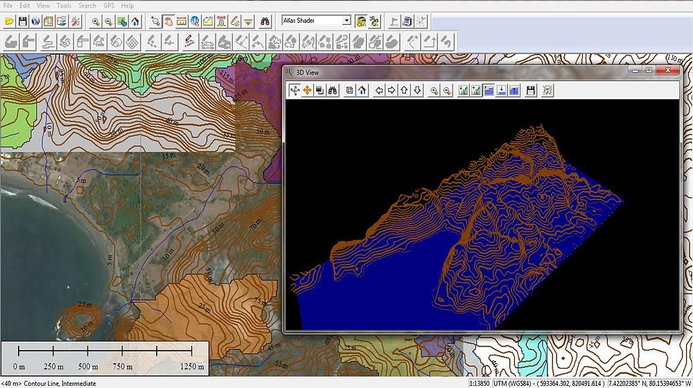 En Geodinamics utilizamos software especializado para interpretación de imágenes satelitales y hacer simulaciones de inundaciones.  Este proyecto es en Pedasí, Provincia de Los Santos.