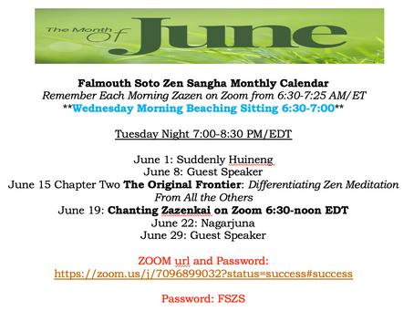 Falmouth Soto Zen Sangha Monthly Calendar