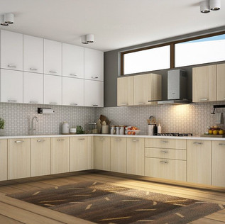Aileen L-Shaped Creamy White and Chestnut Modular Kitchen