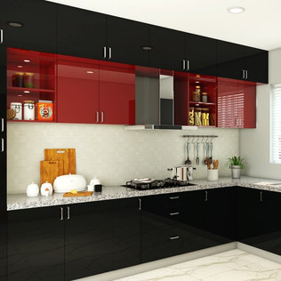 L-Shaped Black and Wine Red Modular Kitchen Designs