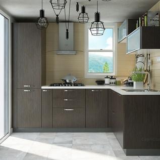 L Shaped Creamy White and Silver Modular Kitchen Design