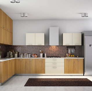 L-Shaped Sparkling Wood and Creamy White Modular Kitchen
