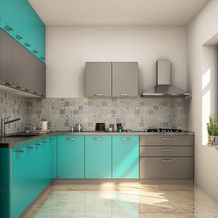 L-Shaped Leather Black and Henna Green Modular Kitchen Designs